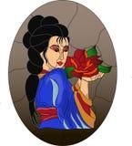 Японская девушка с картиной цветного стекла цветка бесплатная иллюстрация
