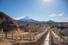 Японская деревня около горы Фудзи Стоковые Фото