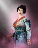 Японская девушка гейши, женщина Японии иллюстрация вектора