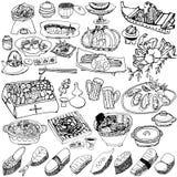 Японская еда вычерченные иллюстрации руки Стоковые Фото