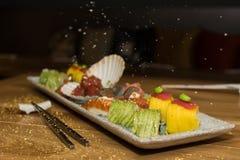 Японская еда с серебром шелушится на воздухе Стоковое Фото