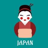 Японская женщина гейши в кимоно Стоковое Изображение RF