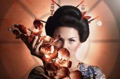 Японская женщина гейши Стоковые Изображения RF