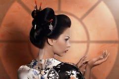 Японская женщина гейши Стоковая Фотография