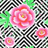 японская картина Цветение вишни Орнамент с восточными мотивами вектор бесплатная иллюстрация