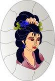 Японская картина цветного стекла девушки гейши иллюстрация вектора