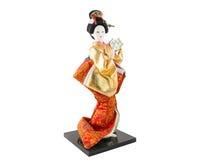 Японская кукла гейши изолированная на белизне. Стоковое Изображение