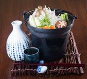 Японская кухня горячий бак на предпосылке стоковая фотография