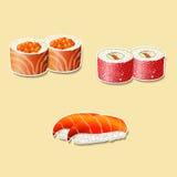 Японская кухня, суши с рыбами, косулями иллюстрация штока