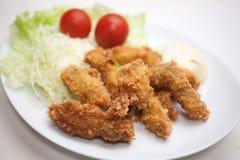 Японская кухня, kakifurai (Deep-fried устрицы) Стоковая Фотография