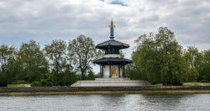 Японская пагода в парке Battersea в Лондоне Стоковое фото RF
