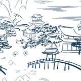 Японская побудительная картина эскиза вектора символов традиционная стоковая фотография