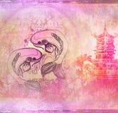 Японская предпосылка koi Стоковое Изображение
