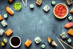 Японская предпосылка суш Стоковая Фотография