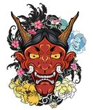 Японская старая татуировка дракона для руки вручите вычерченную маску Oni с цветком вишневого цвета и пиона Японская маска демона иллюстрация штока