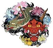 Японская старая татуировка дракона для руки вручите вычерченную маску Oni с цветком вишневого цвета и пиона Японская маска демона Стоковое Изображение RF