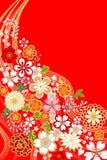 Японская традиционная флористическая картина Стоковое Изображение
