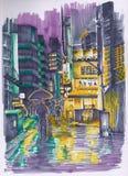 Японская улица в вечере эскиз Стоковые Изображения RF
