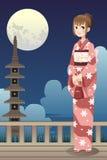 Японская девушка кимоно Стоковая Фотография