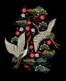 Японские белые краны с красными цветками Стоковое Изображение