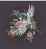 Японские белые кран и цветки Вектор вышивки Стоковые Изображения