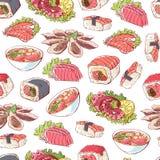Японские блюда кухни на белой предпосылке иллюстрация вектора