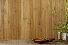 Японские блюдо и бамбук сервировки Стоковые Фотографии RF