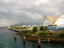 Японские здания на паромном порте Кагошимы Стоковое фото RF