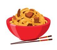 Японские, китайские лапши, еда рамэнов, азиатская лапша Стиль шаржа плоский также вектор иллюстрации притяжки corel иллюстрация штока