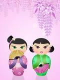Японские куклы kokeshi Стоковое Изображение