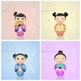 Японские куклы kokeshi Стоковое фото RF