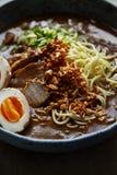 Японские рамэны с животом свинины, грибами и marinated яичком Стоковое Изображение
