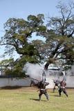 Японские самураи с винтовкой замка огня Стоковое Изображение RF