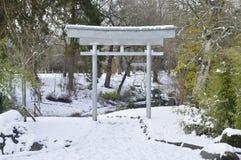 Японские сады в зиме Стоковые Фотографии RF