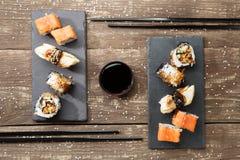 Японские суши морепродуктов, крены Стоковые Фотографии RF