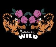 Японские тигры с цветками для печатать одеяний футболки Стоковое фото RF