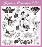Японские традиционные установленные орнаменты бесплатная иллюстрация