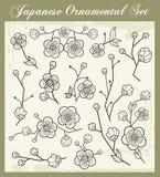 Японские традиционные установленные орнаменты иллюстрация штока