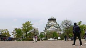 Японские туристы принимают фото на замок Осака, Японию видеоматериал