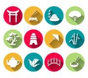 Японские установленные значки Стоковое Изображение