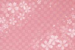 Японский вишневый цвет на розовой checkered предпосылке бумаги картины бесплатная иллюстрация