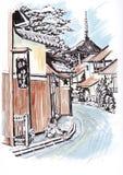 японский городок Сделайте эскиз к отметкам Стоковые Изображения RF