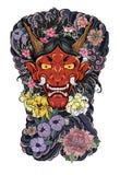 Японский дизайн татуировки маски ` s демона вполне подпирает тело Маска Oni с выплеском воды и пион цветут, вишневый цвет бесплатная иллюстрация