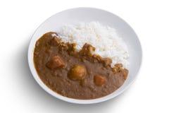 Японский изолированный рис карри еды на белизне Стоковые Изображения RF
