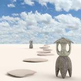 Японский каменный фонарик на песке, переводе 3D стоковые фото