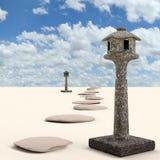 Японский каменный фонарик на песке, переводе 3D стоковые изображения rf