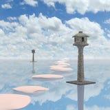 Японский каменный фонарик на реке, переводе 3D стоковые изображения
