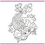 Японский карп - линия изображение вектора чертежа Стоковая Фотография