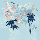 Японский мотив кимоно с краном и цветками иллюстрация вектора