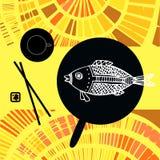 Японский натюрморт - рыба, палочки и чай Иллюстрация штока